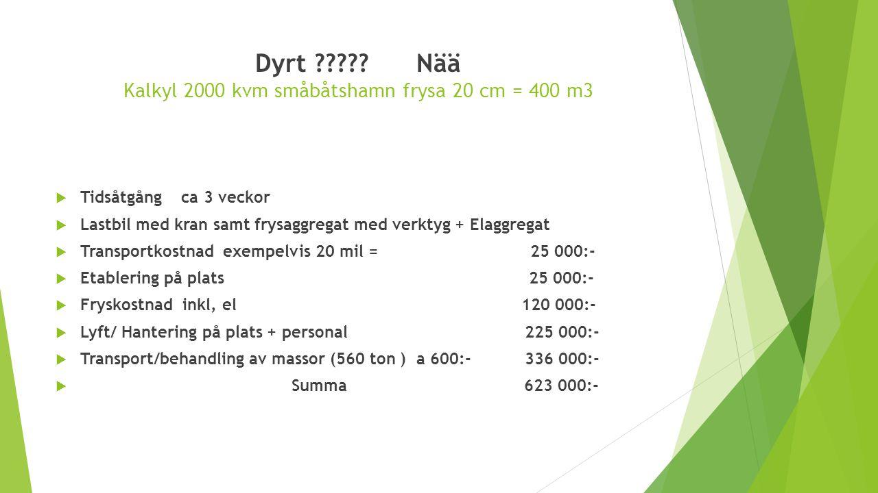 Dyrt Nää Kalkyl 2000 kvm småbåtshamn frysa 20 cm = 400 m3