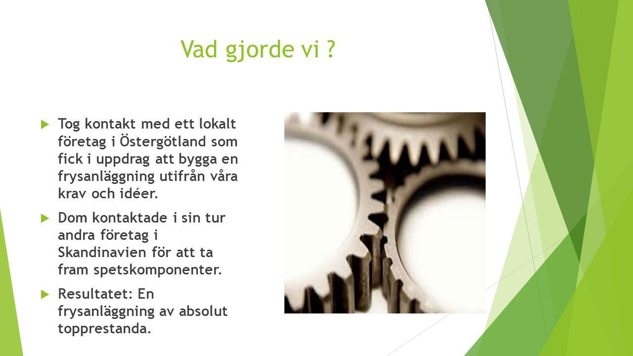 Vad gjorde vi Tog kontakt med ett lokalt företag i Östergötland som fick i uppdrag att bygga en frysanläggning utifrån våra krav och idéer.