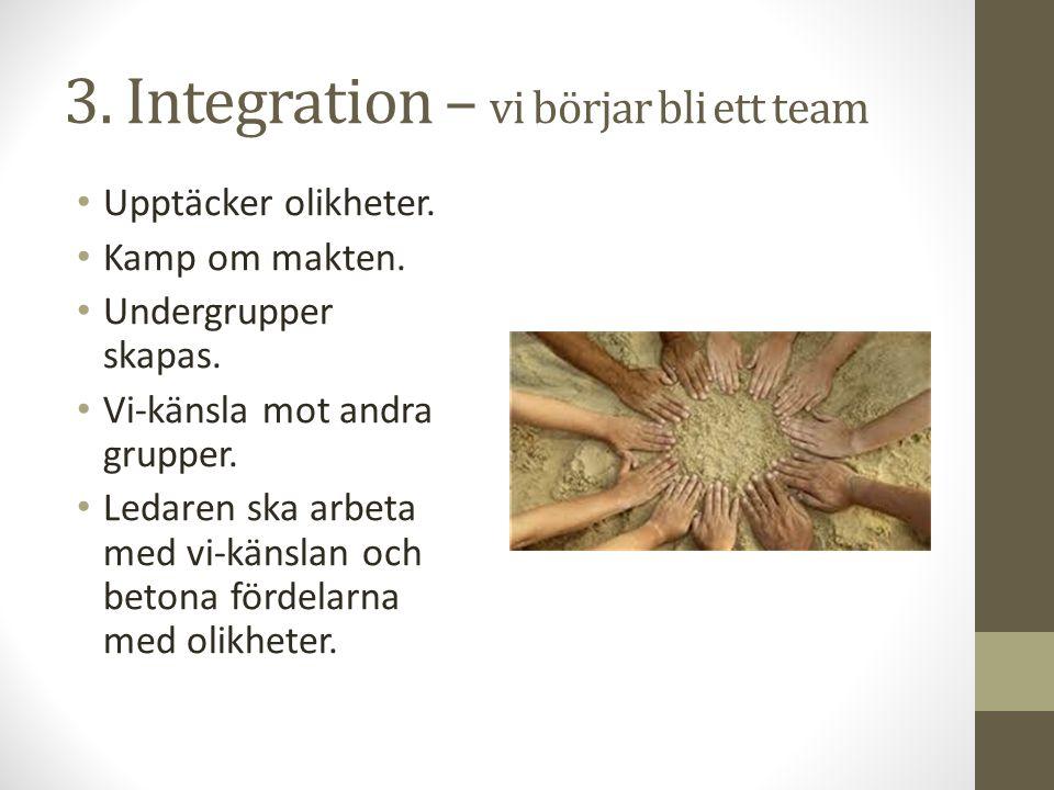 3. Integration – vi börjar bli ett team