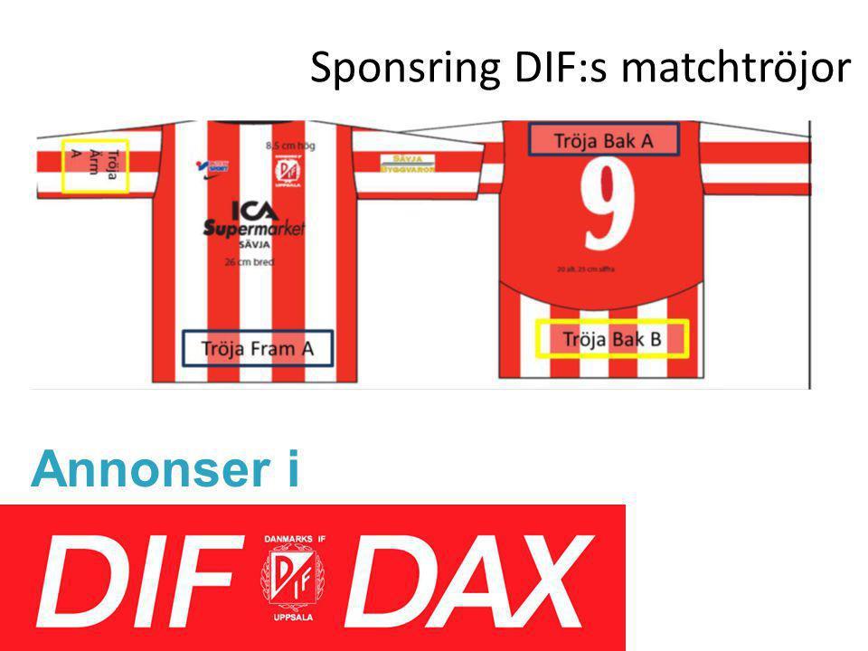 Sponsring DIF:s matchtröjor