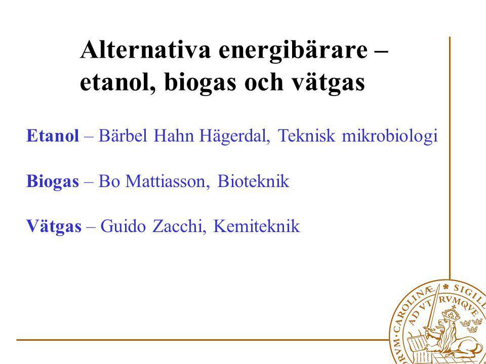 Alternativa energibärare – etanol, biogas och vätgas
