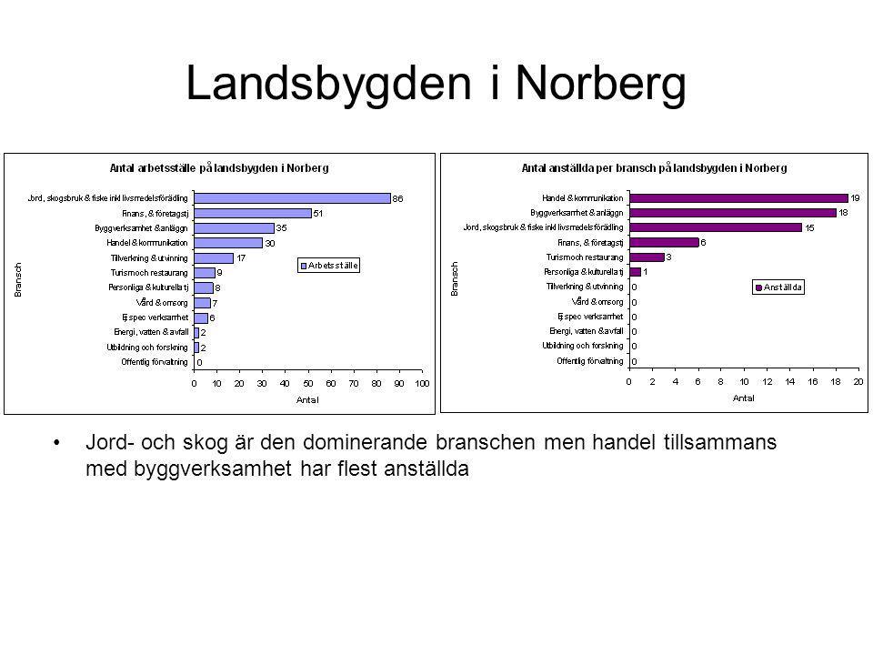 Landsbygden i Norberg Jord- och skog är den dominerande branschen men handel tillsammans med byggverksamhet har flest anställda.