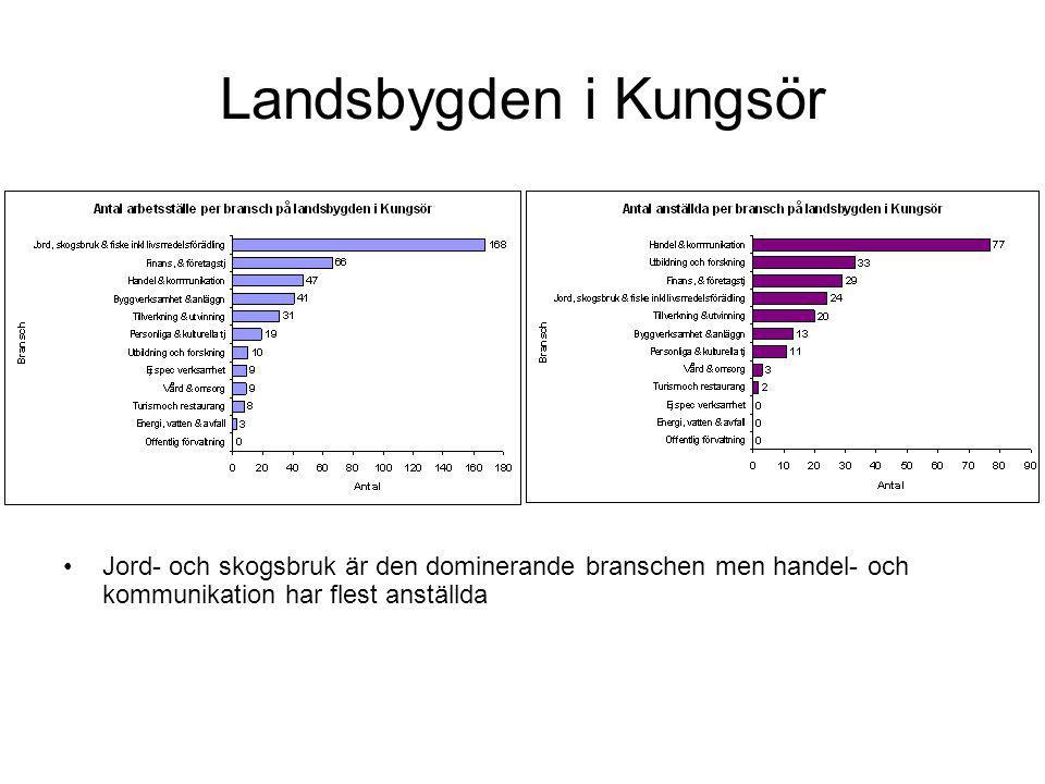 Landsbygden i Kungsör Jord- och skogsbruk är den dominerande branschen men handel- och kommunikation har flest anställda.