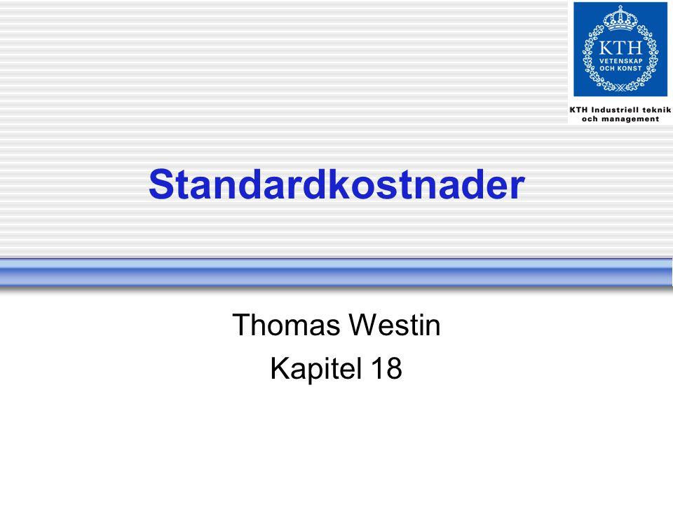 Standardkostnader Thomas Westin Kapitel 18