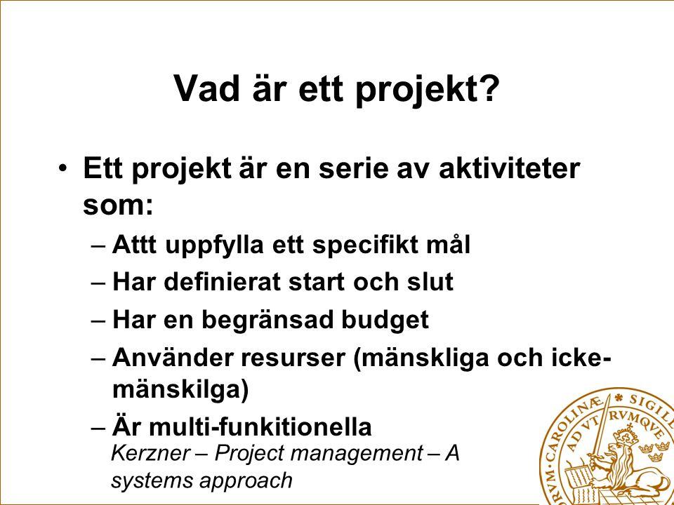 Vad är ett projekt Ett projekt är en serie av aktiviteter som: