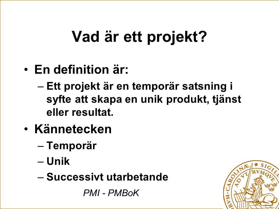Vad är ett projekt En definition är: Kännetecken
