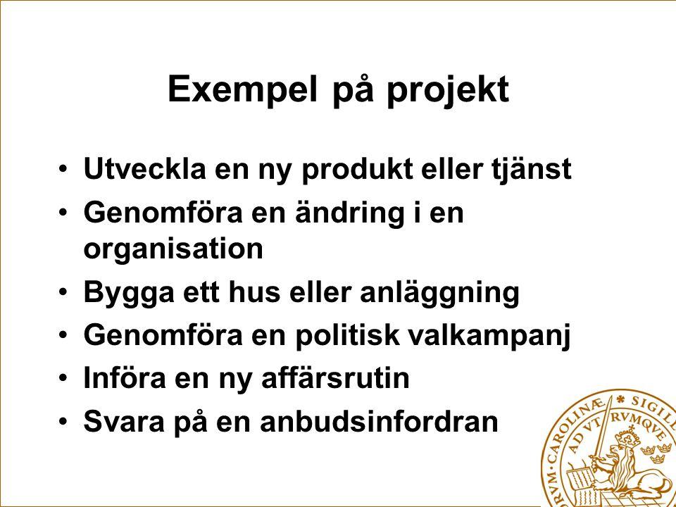 Exempel på projekt Utveckla en ny produkt eller tjänst