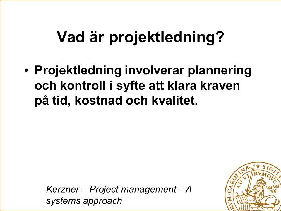 Vad är projektledning Projektledning involverar plannering och kontroll i syfte att klara kraven på tid, kostnad och kvalitet.