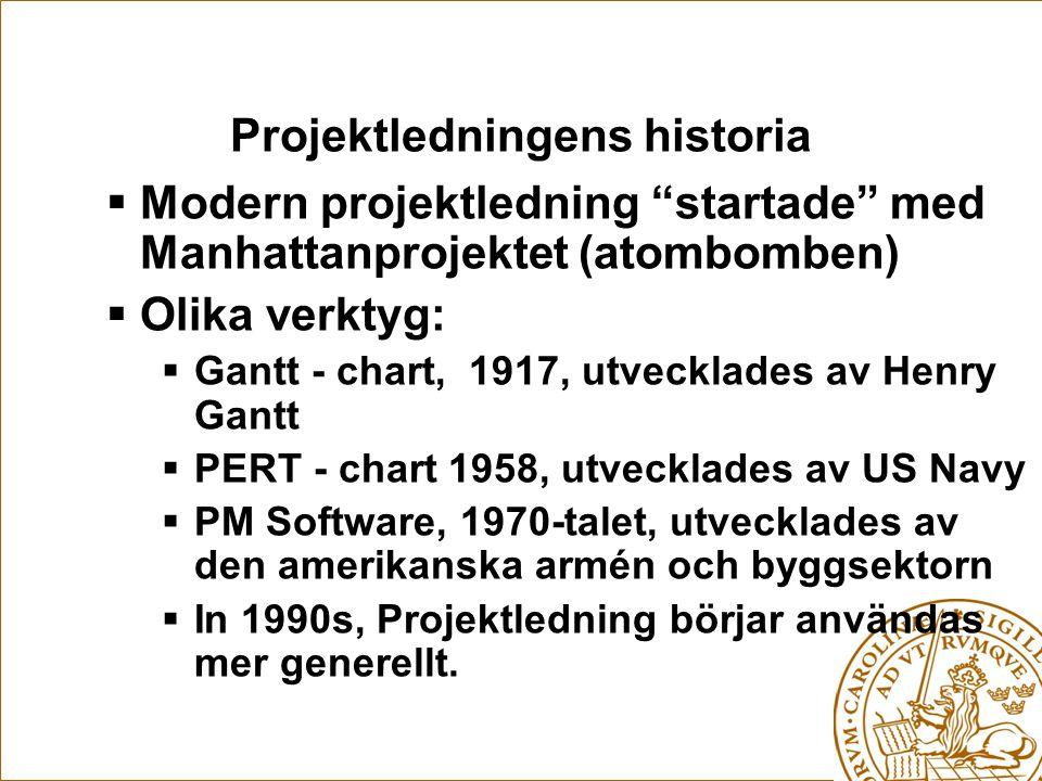 Projektledningens historia