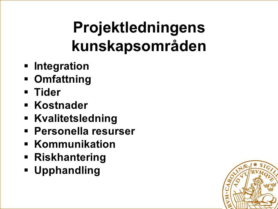 Projektledningens kunskapsområden
