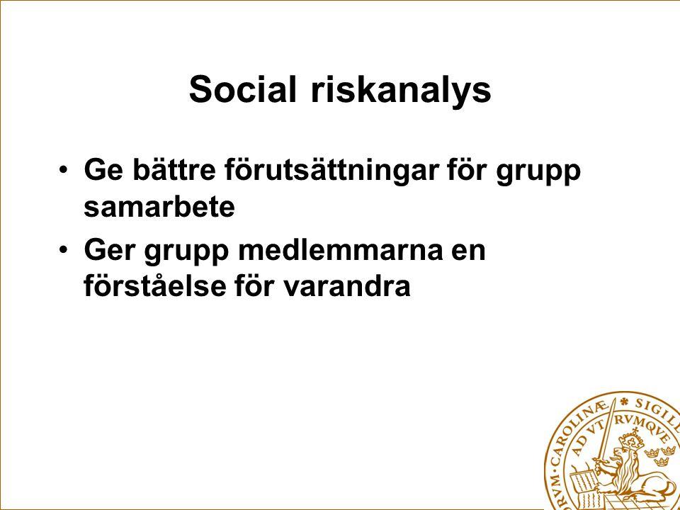 Social riskanalys Ge bättre förutsättningar för grupp samarbete