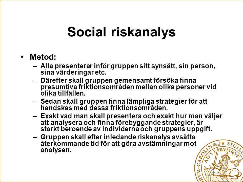 Social riskanalys Metod: