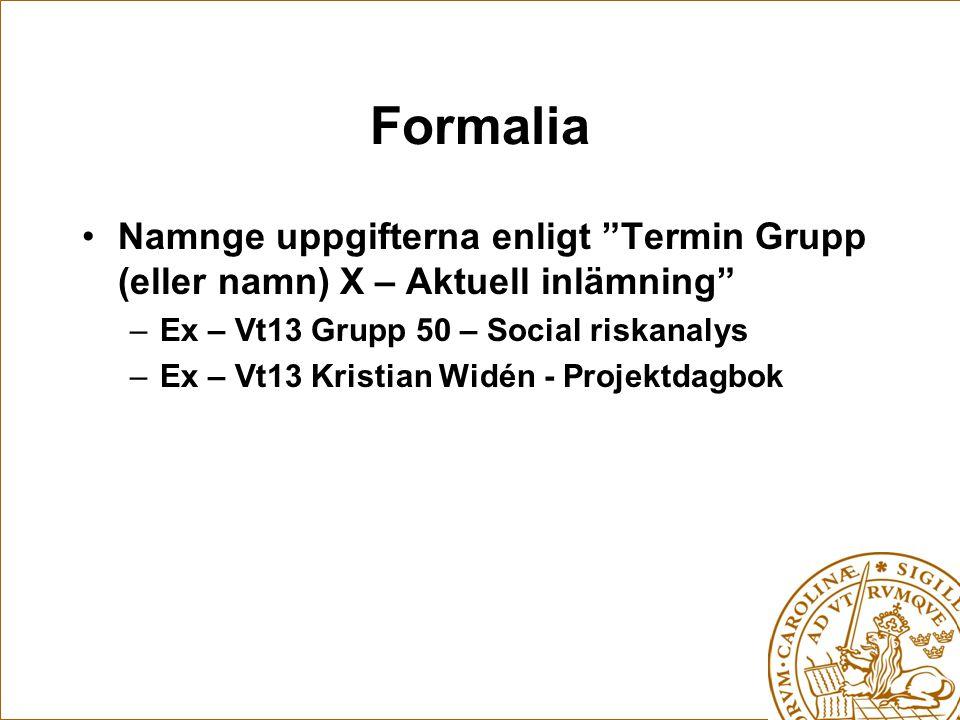 Formalia Namnge uppgifterna enligt Termin Grupp (eller namn) X – Aktuell inlämning Ex – Vt13 Grupp 50 – Social riskanalys.