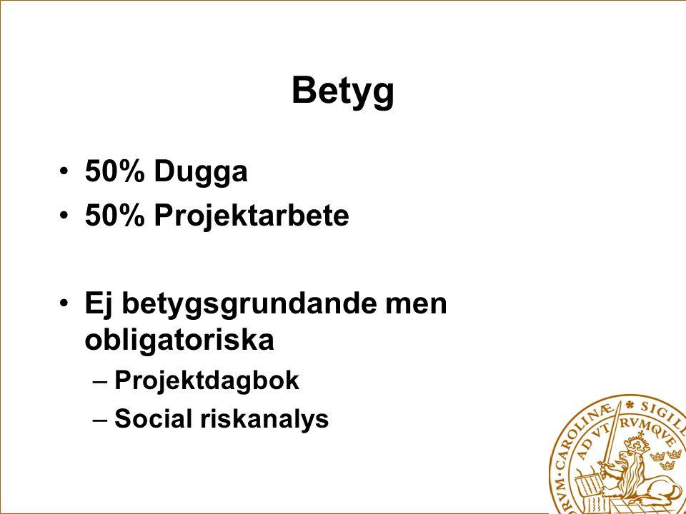 Betyg 50% Dugga 50% Projektarbete Ej betygsgrundande men obligatoriska