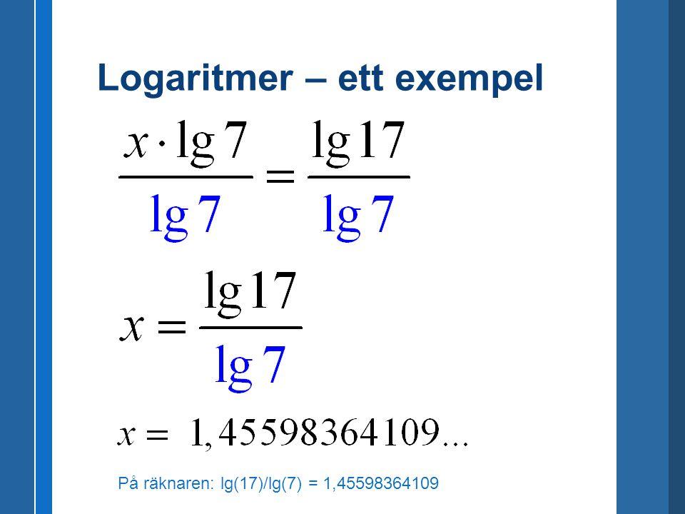 Logaritmer – ett exempel