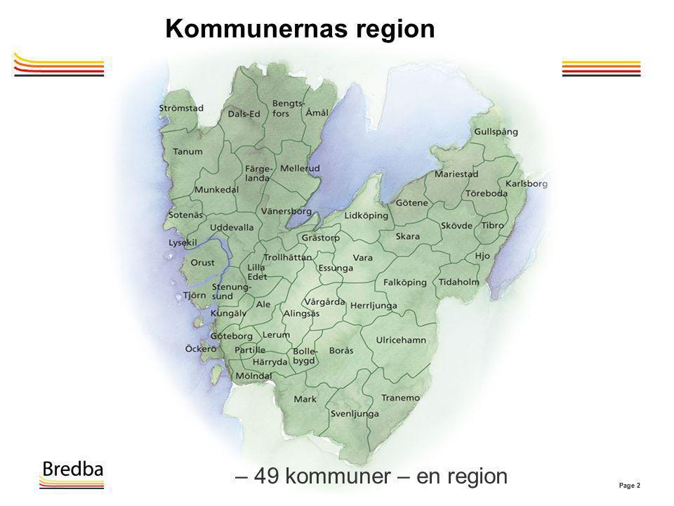 Kommunernas region – 49 kommuner – en region Flytta ner kartan 2