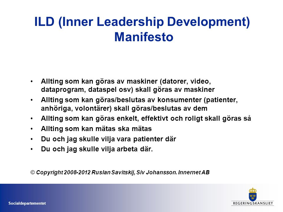 ILD (Inner Leadership Development) Manifesto