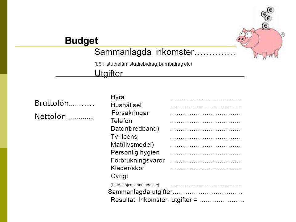 Budget Sammanlagda inkomster……………..
