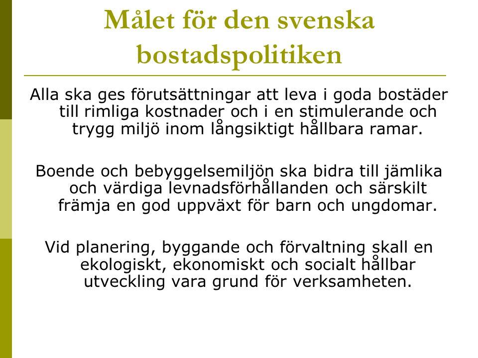 Målet för den svenska bostadspolitiken