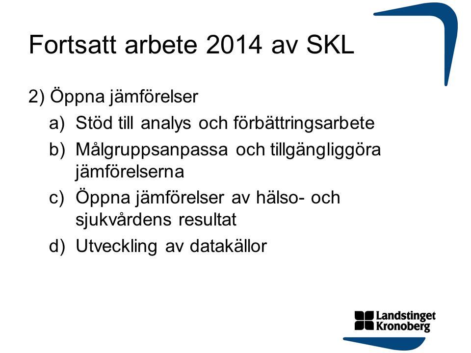 Fortsatt arbete 2014 av SKL 2) Öppna jämförelser