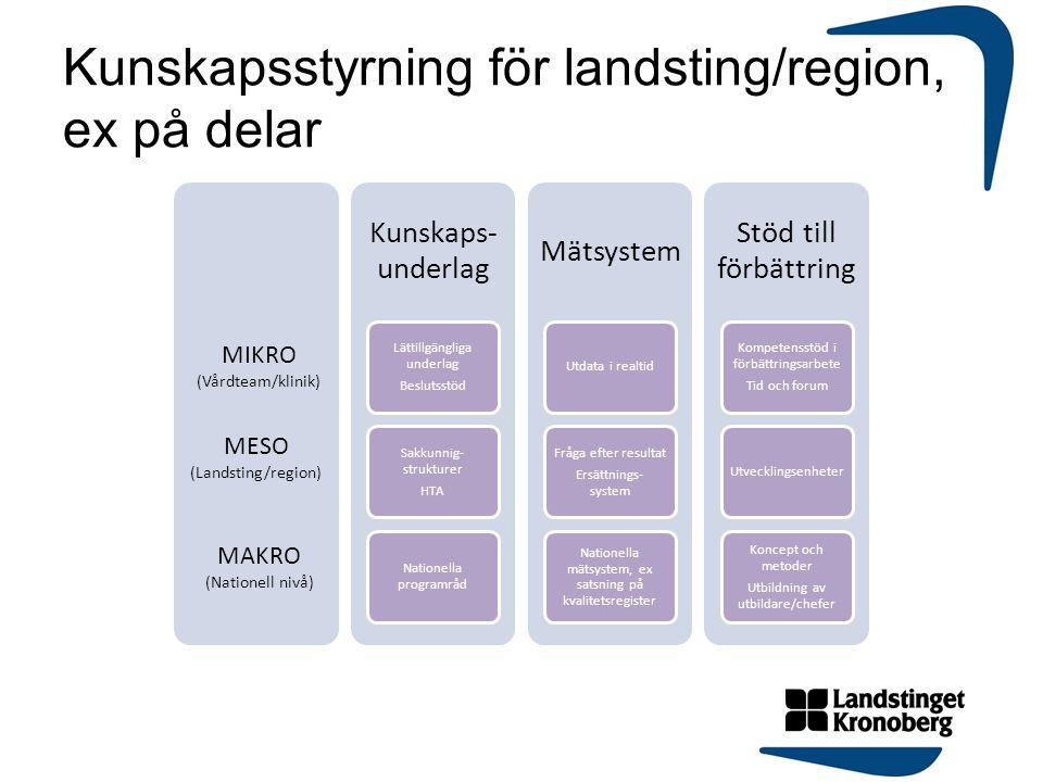 Kunskapsstyrning för landsting/region, ex på delar