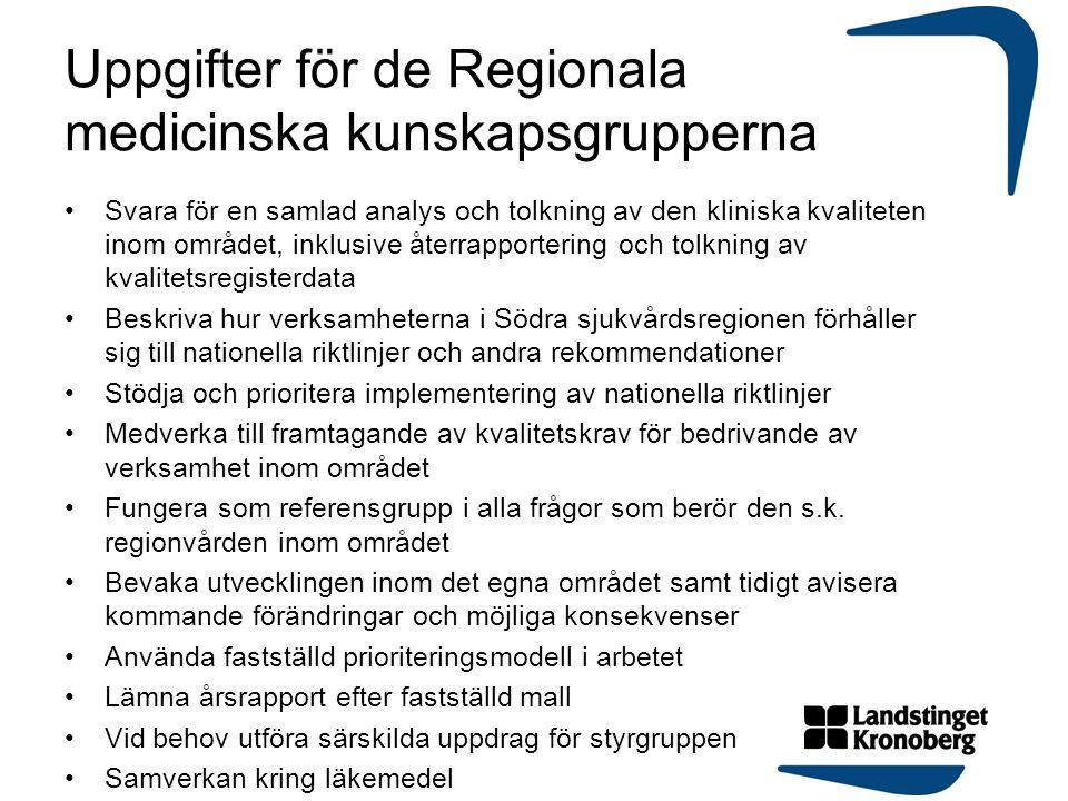 Uppgifter för de Regionala medicinska kunskapsgrupperna
