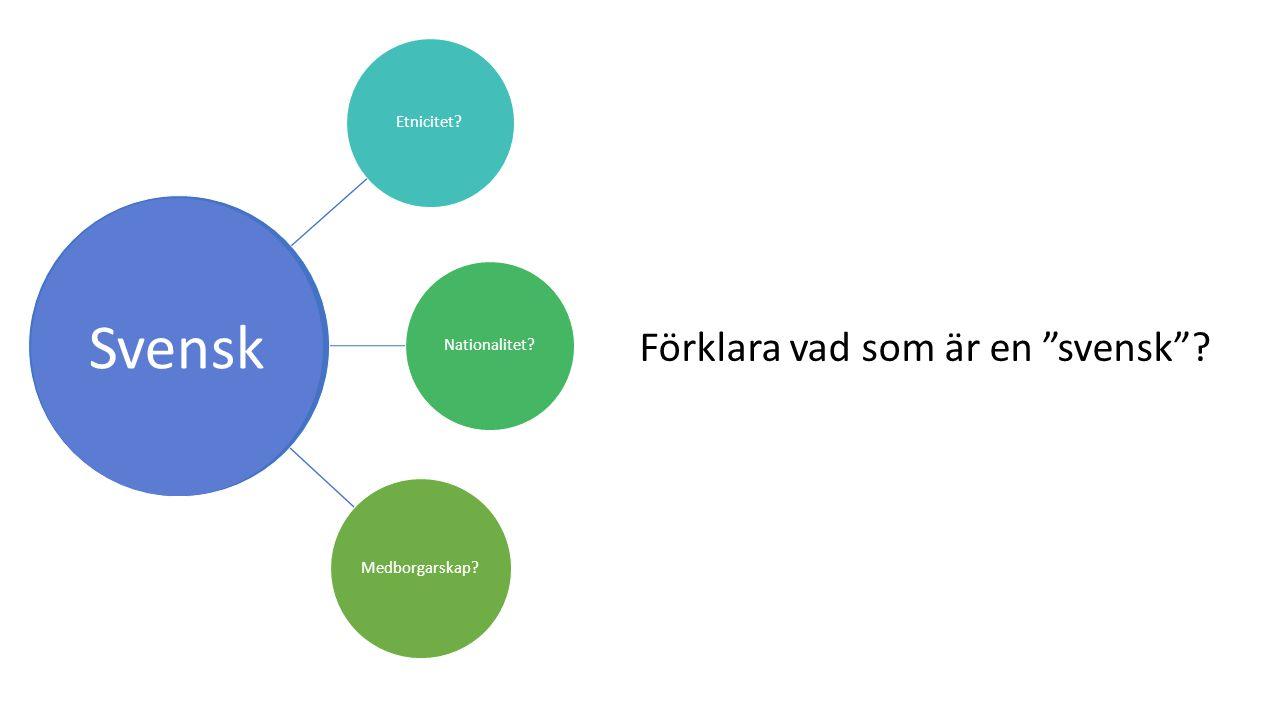 Svensk Förklara vad som är en svensk Etnicitet Nationalitet
