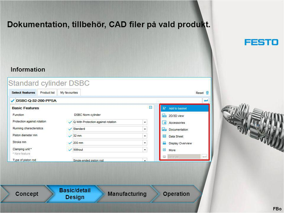 Dokumentation, tillbehör, CAD filer på vald produkt.