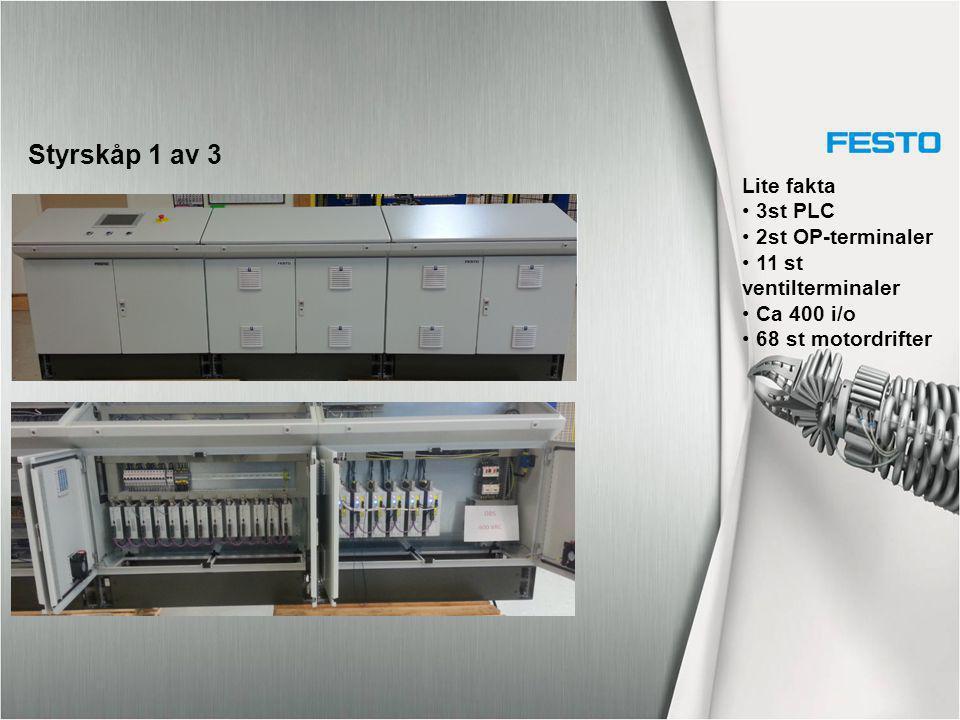 Styrskåp 1 av 3 Lite fakta 3st PLC 2st OP-terminaler