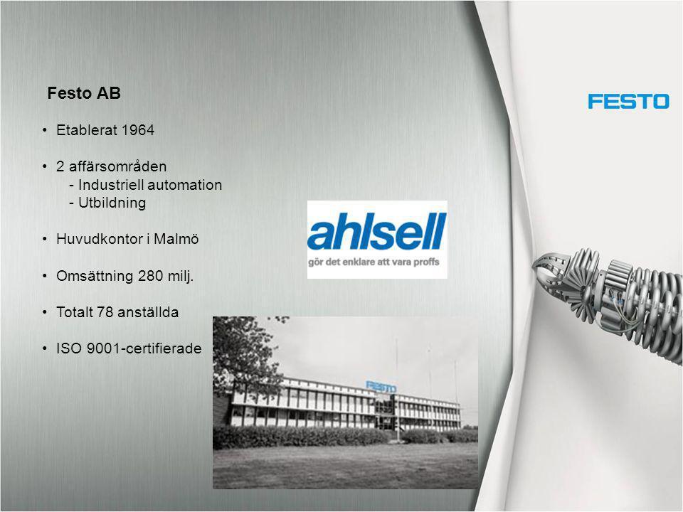 Festo AB Etablerat 1964 2 affärsområden - Industriell automation