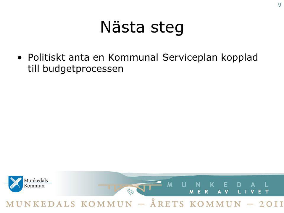 Nästa steg Politiskt anta en Kommunal Serviceplan kopplad till budgetprocessen