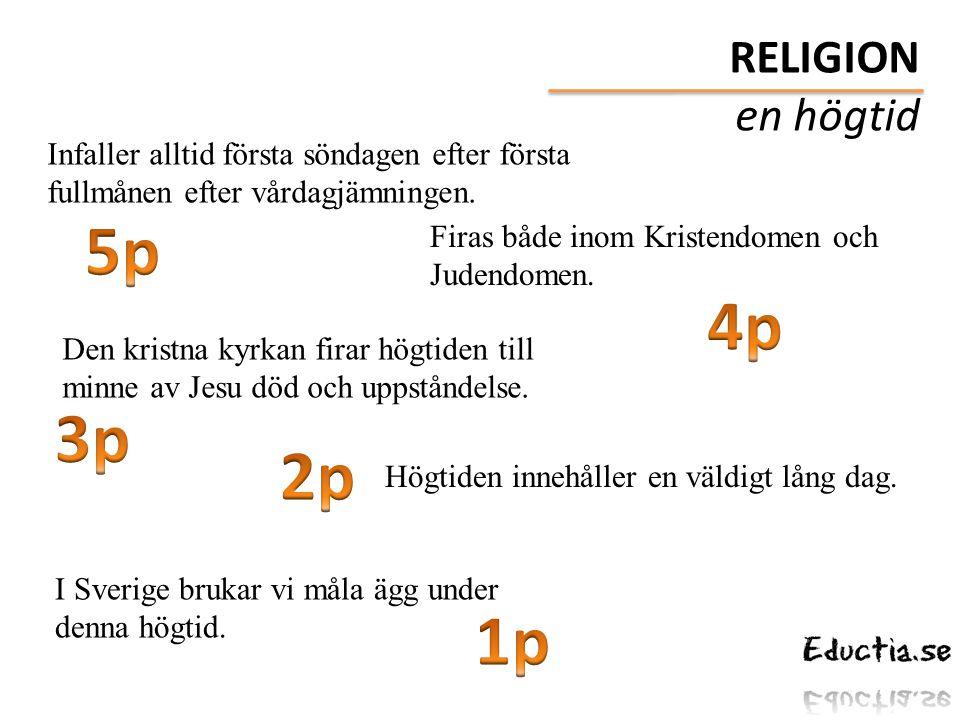 5p 4p 3p 2p 1p RELIGION en högtid