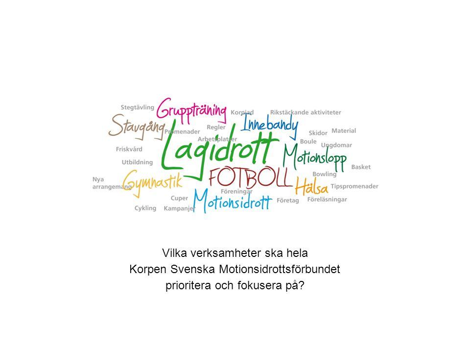 Vilka verksamheter ska hela Korpen Svenska Motionsidrottsförbundet