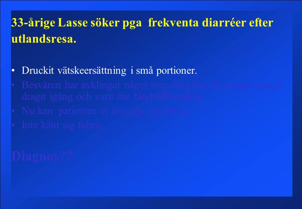 Diagnos 33-årige Lasse söker pga frekventa diarréer efter