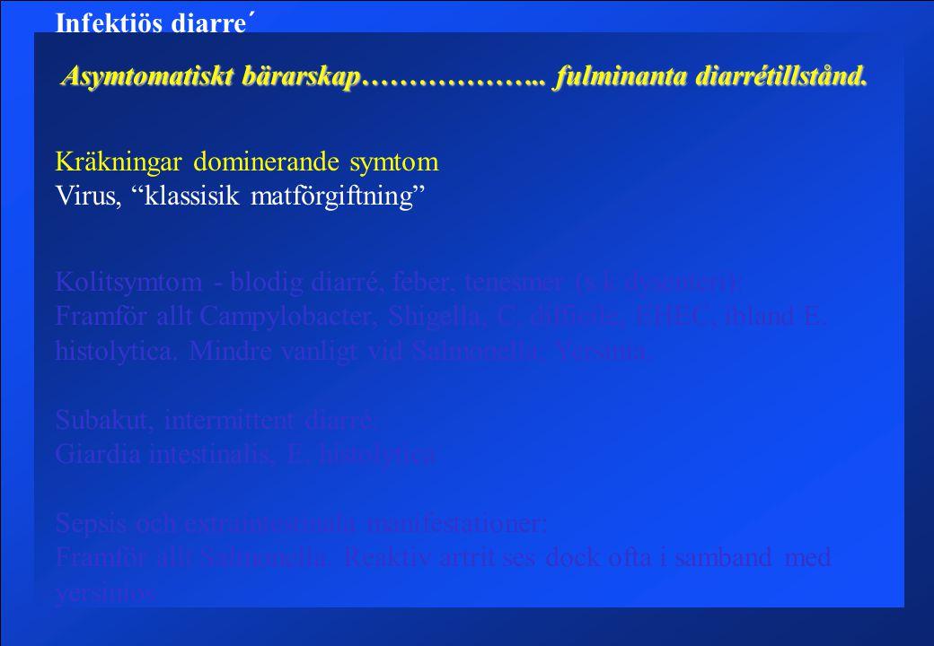 Infektiös diarre´ Asymtomatiskt bärarskap……………….. fulminanta diarrétillstånd. Kräkningar dominerande symtom Virus, klassisik matförgiftning