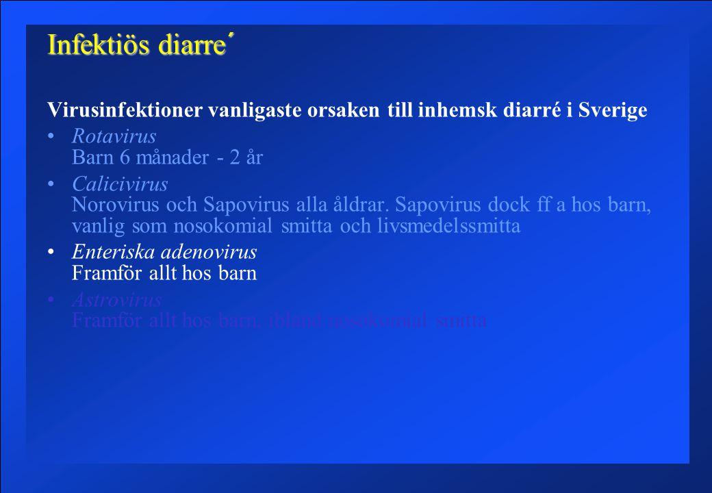 Infektiös diarre´ Virusinfektioner vanligaste orsaken till inhemsk diarré i Sverige. Rotavirus Barn 6 månader - 2 år.
