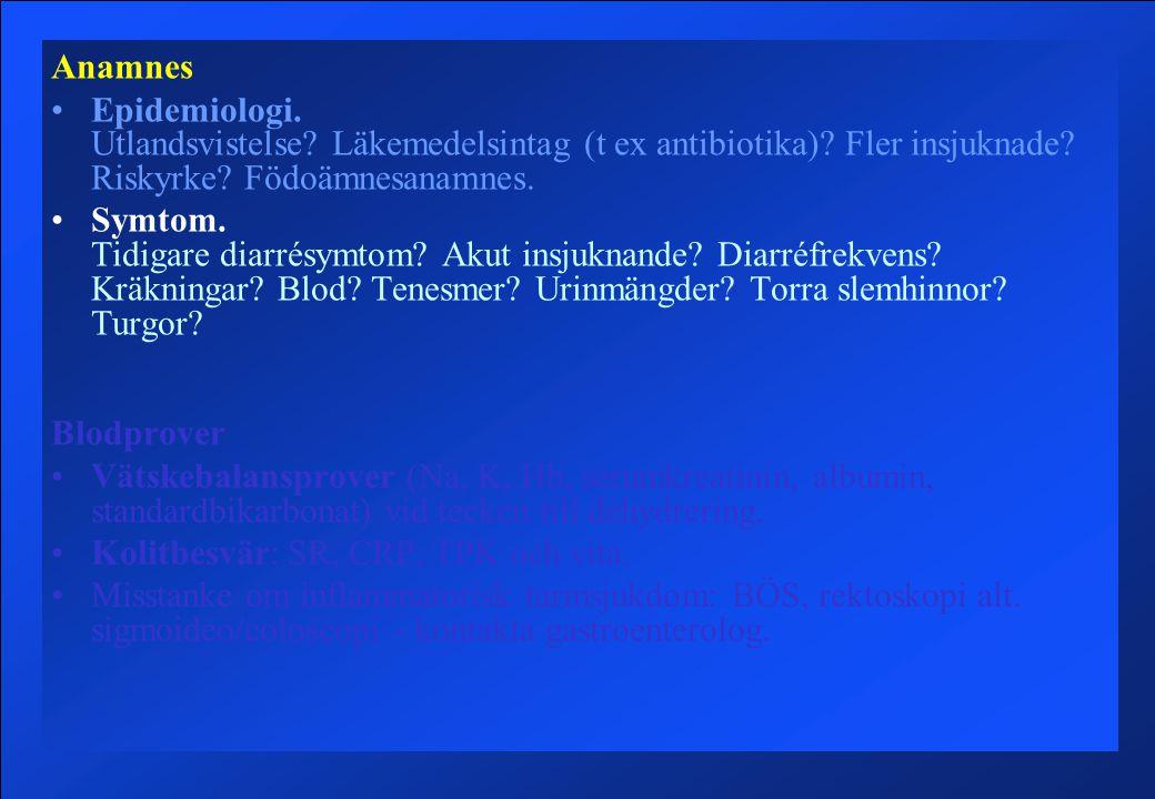 Anamnes Epidemiologi. Utlandsvistelse Läkemedelsintag (t ex antibiotika) Fler insjuknade Riskyrke Födoämnesanamnes.
