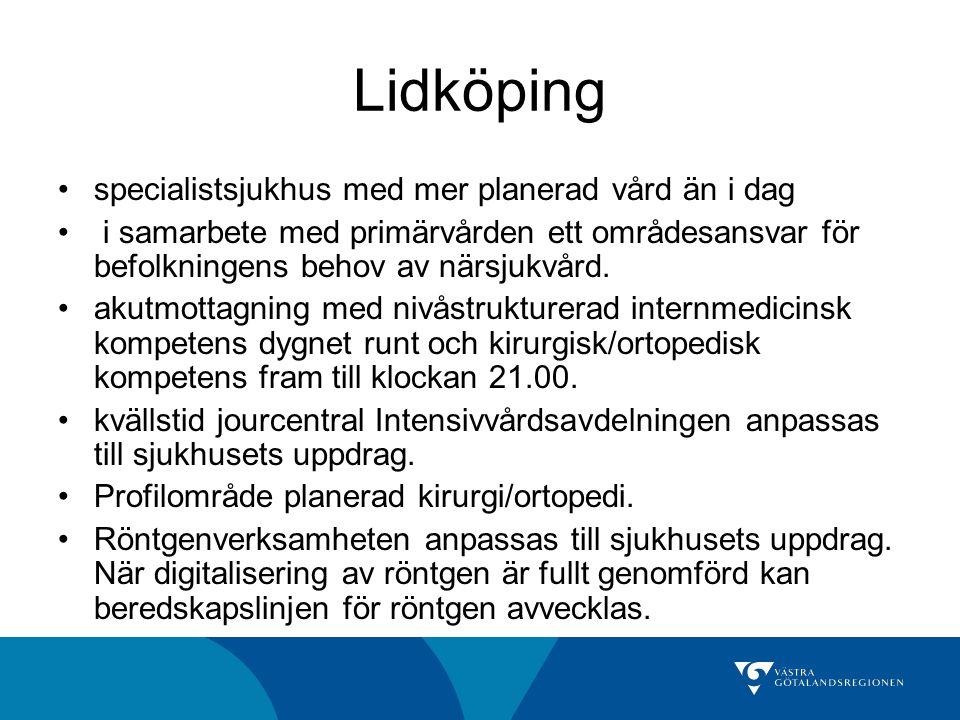Lidköping specialistsjukhus med mer planerad vård än i dag