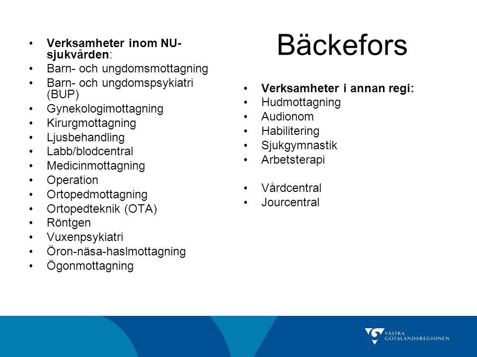 Bäckefors Verksamheter inom NU-sjukvården: Barn- och ungdomsmottagning