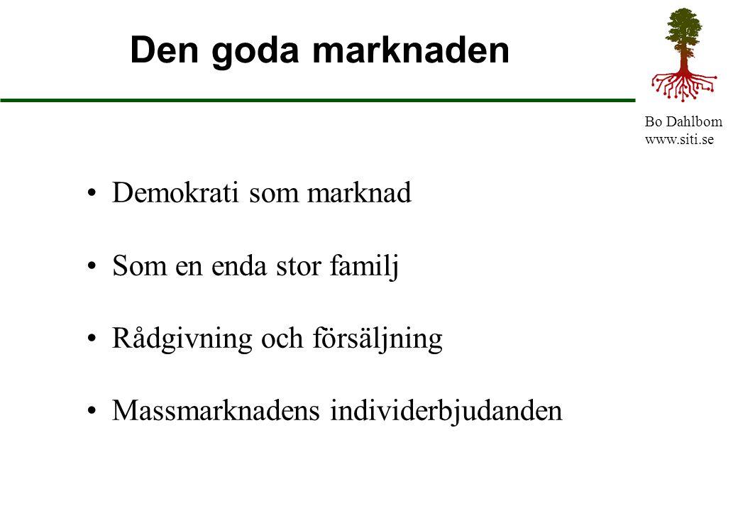 Den goda marknaden Demokrati som marknad Som en enda stor familj