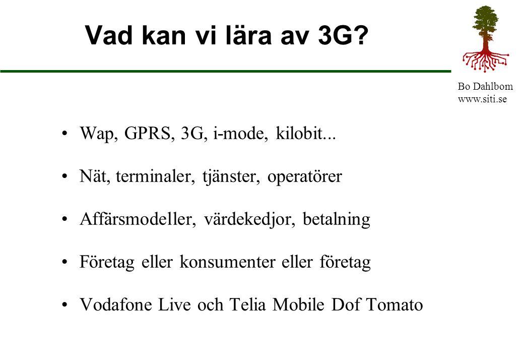 Vad kan vi lära av 3G Wap, GPRS, 3G, i-mode, kilobit...