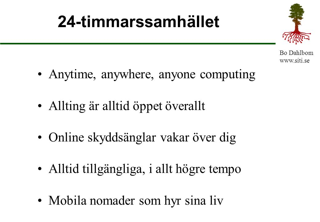 24-timmarssamhället Anytime, anywhere, anyone computing