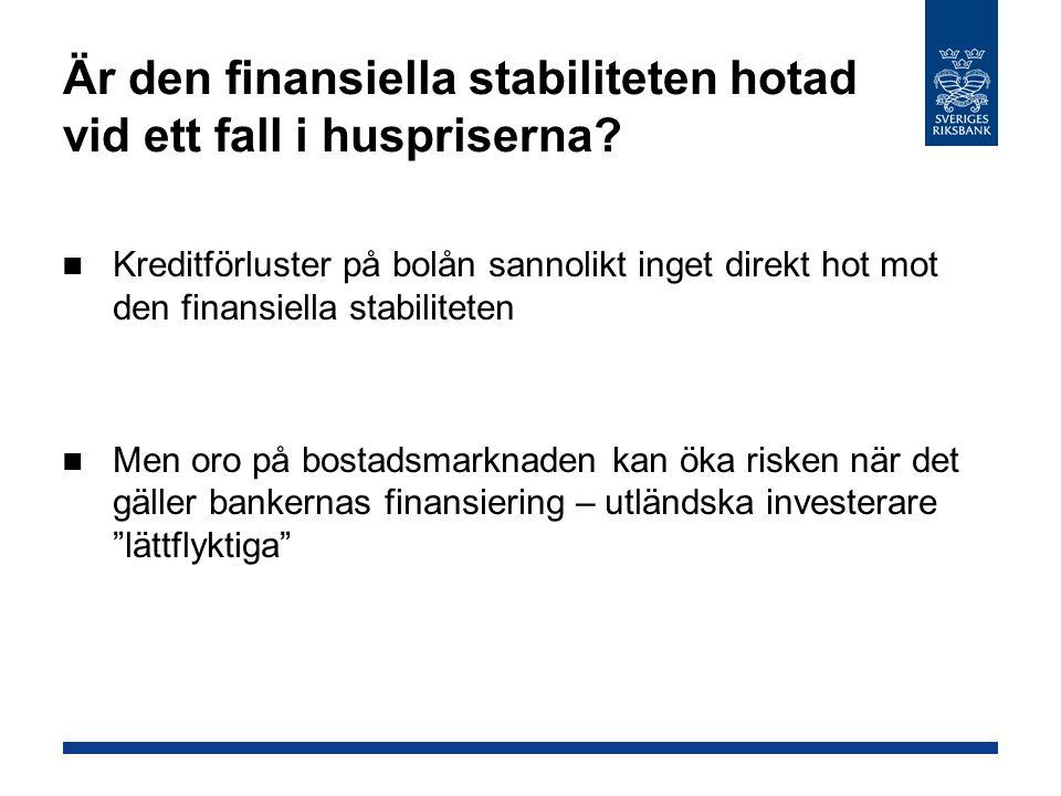 Är den finansiella stabiliteten hotad vid ett fall i huspriserna
