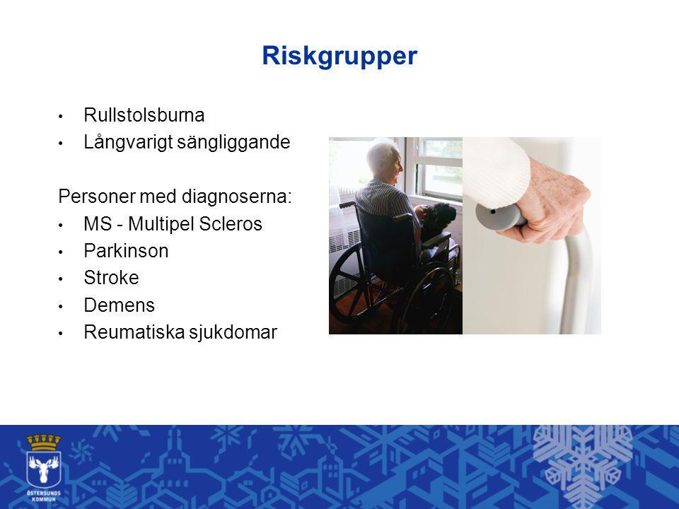 Riskgrupper Rullstolsburna Långvarigt sängliggande