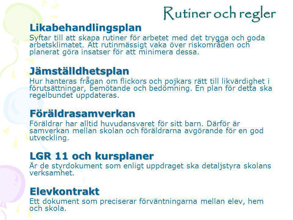 Rutiner och regler Likabehandlingsplan Jämställdhetsplan