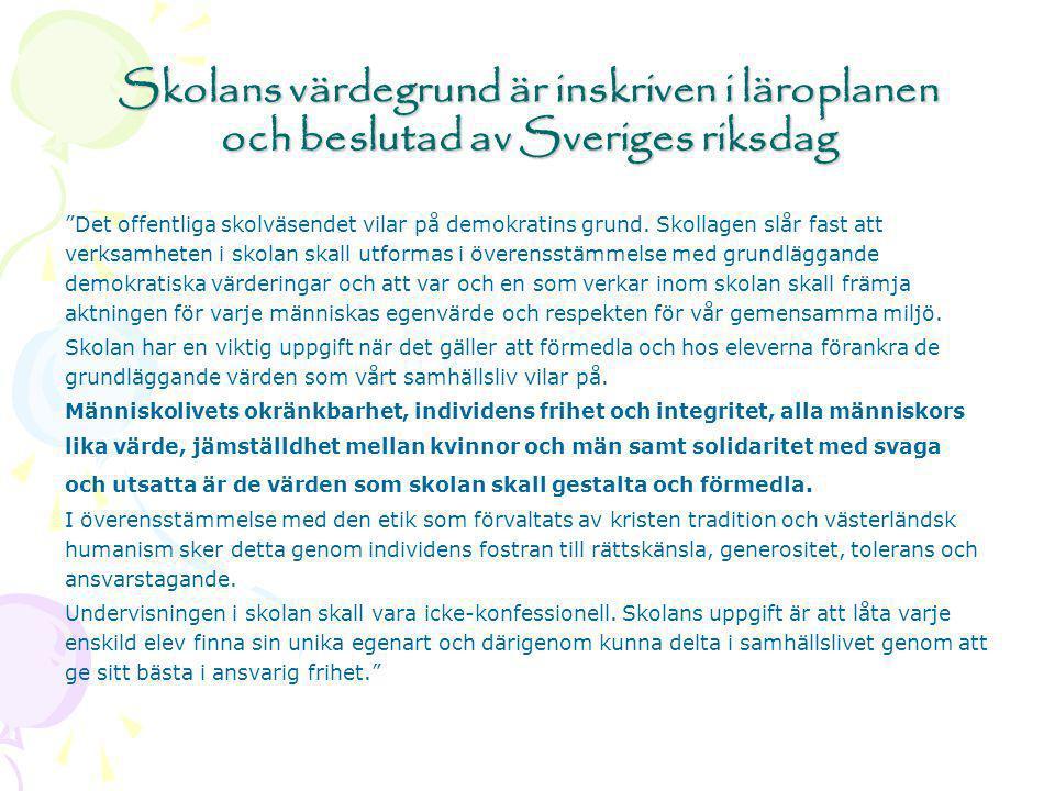Skolans värdegrund är inskriven i läroplanen och beslutad av Sveriges riksdag