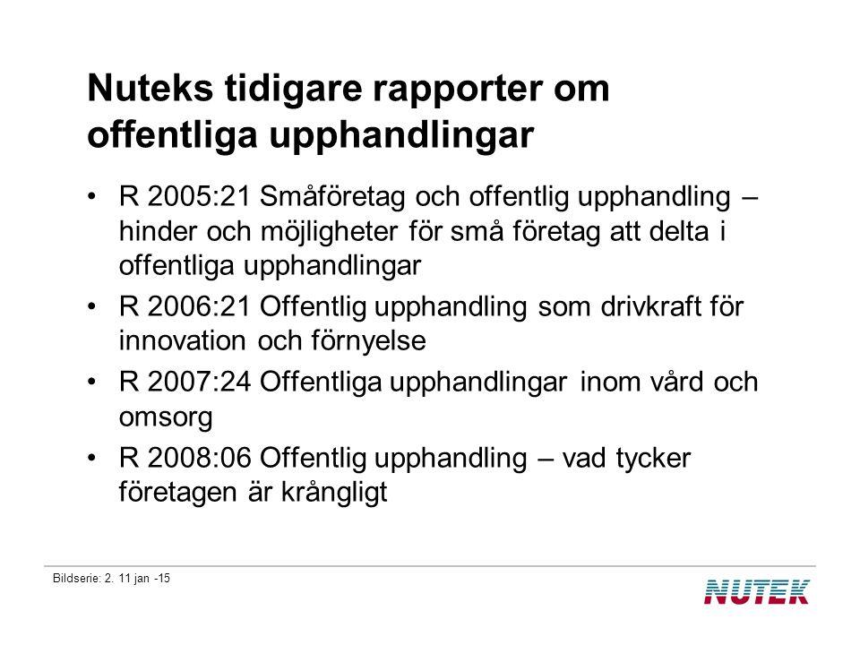 Nuteks tidigare rapporter om offentliga upphandlingar