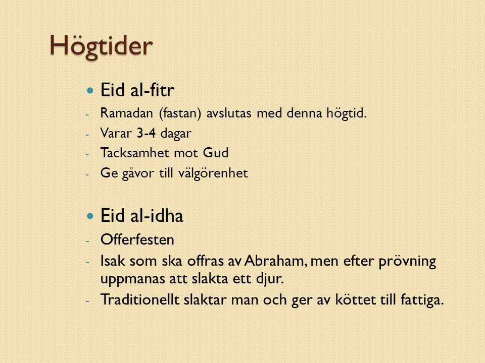 Högtider Eid al-fitr Eid al-idha Offerfesten