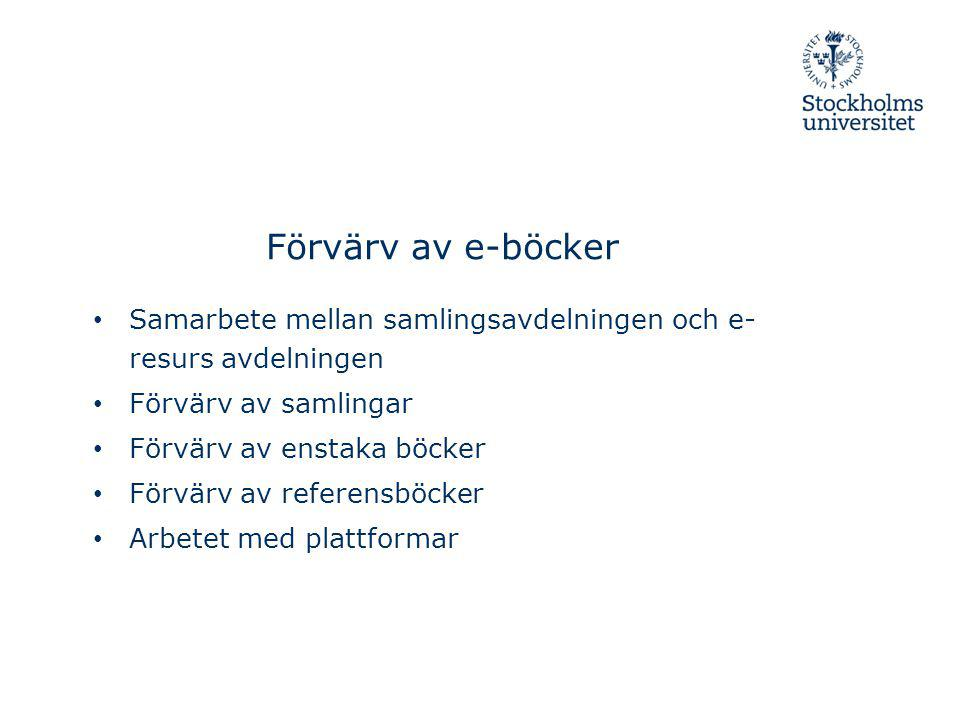 Förvärv av e-böcker Samarbete mellan samlingsavdelningen och e-resurs avdelningen. Förvärv av samlingar.