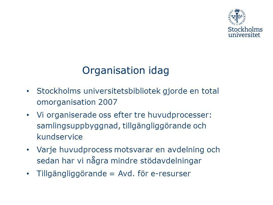 Organisation idag Stockholms universitetsbibliotek gjorde en total omorganisation 2007.